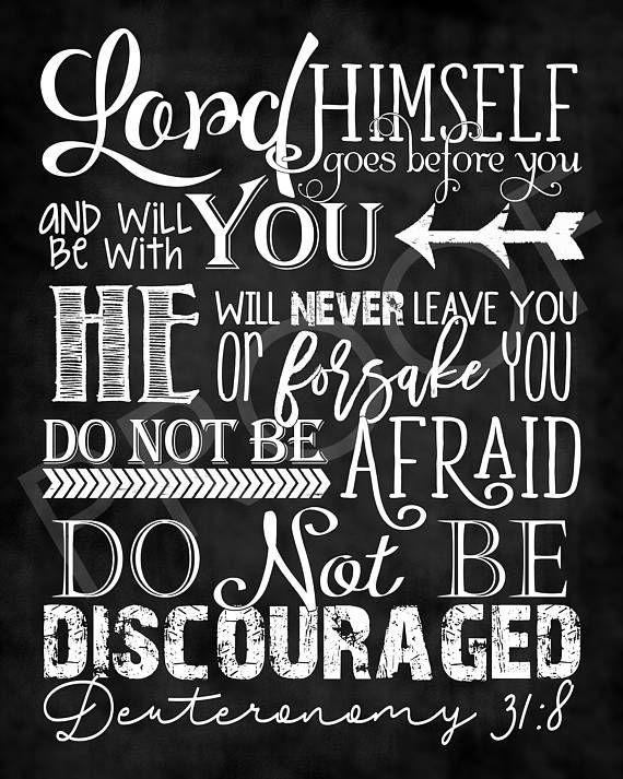 Scripture Art  Deuteronomy 31:8  Chalkboard Style