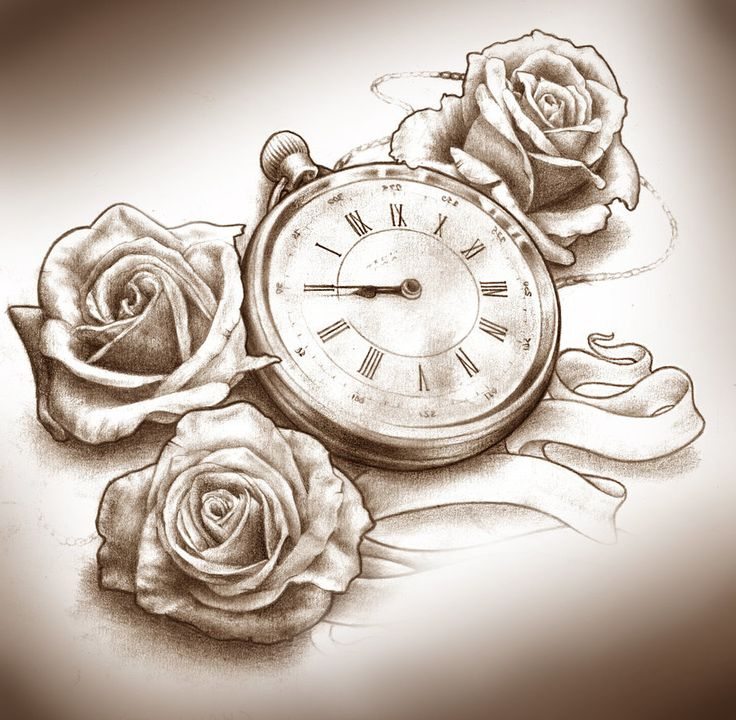 tattoo steampunk reloj rosas perlas - Google Search