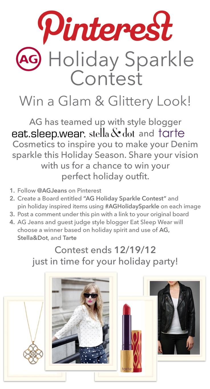 Enter this fun contest style blogger eat, sleep, wear is hosting with @AG Jeans // Rules above. Happy Pinning!