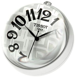 Aluminum case. Silver red dial with black hands and Arabic numeral hour markers. Quartz movement. Scratch resistant mineral crystal. Textured steel crown above the 12 o'clock position. Solid case back. Case diameter: 58 mm. Functions: hours, minutes, seconds. AdditionalInfo: luminous hands and hour makers. Arabic numerals. Tissot Jewelry Mini Ball Watch T82950832.
