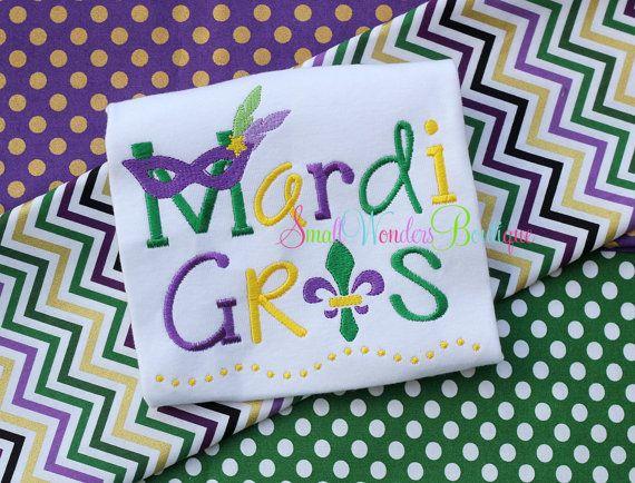 Mardi Gras Embroidered Shirt  Mardi Gras  Beads  by smallwonders00, $22.00
