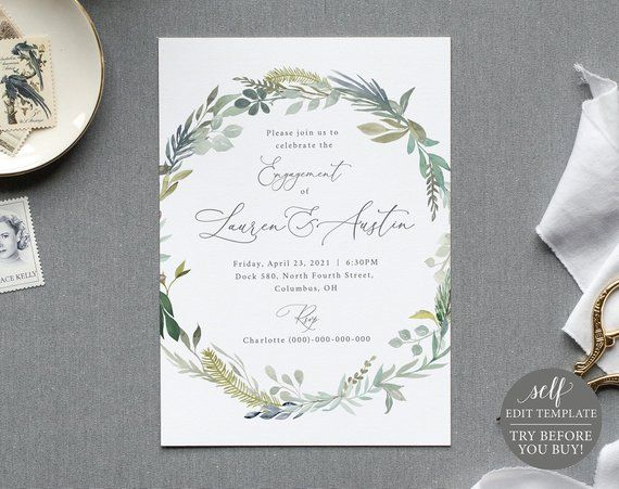 Engagement Party Invite Template Greenery Blue Floral TRY BEFORE