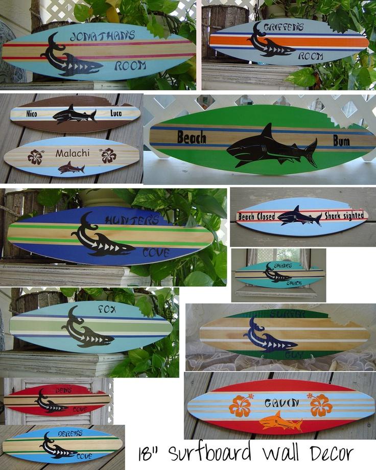 18 inch SURFBOARD. Wall art Decor Shark Surf Sign.150 Designs 3 ...