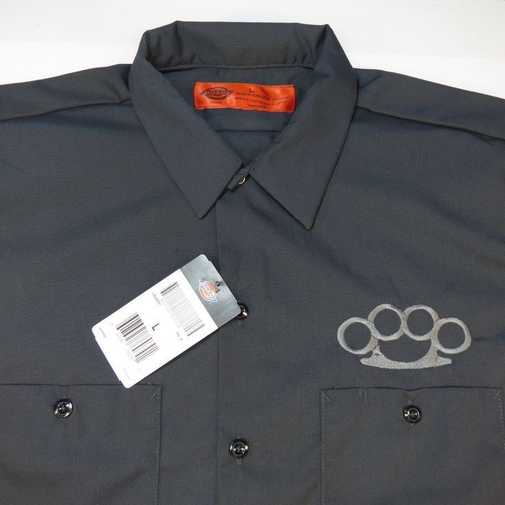 Dickies embroidered brass knuckles garage mechanic racing for Embroidered dickies work shirts
