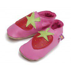 Strawberry  Pink Soft Leather Baby Shoes Made and supplied by Star Child Shoes in #Leicestershire - £18.00