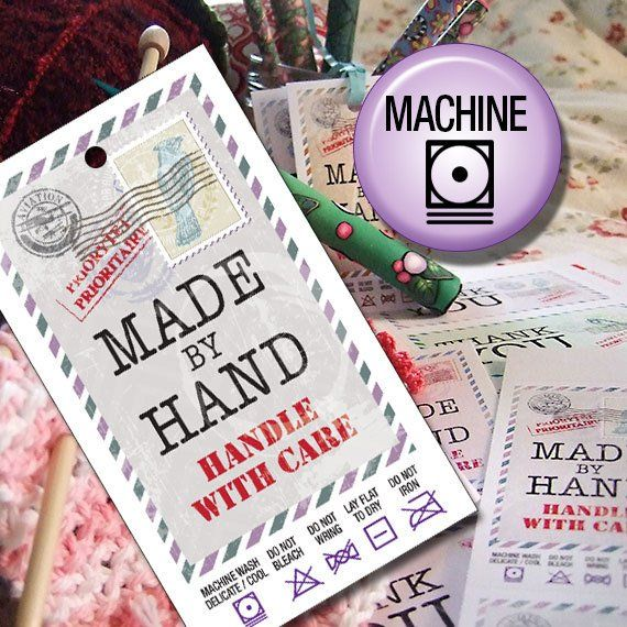 Machine Wash Laundry Care Tags Printables For Hand Made Gifts Or