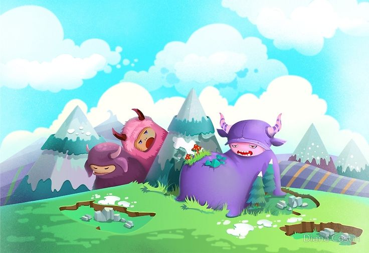 Cute monsters in the nature