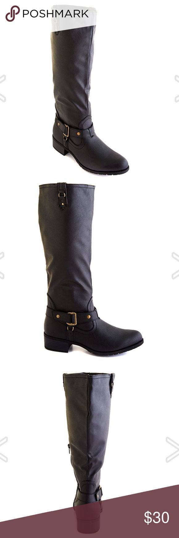 New lliya Riding Boots- Black- Size 6 Rampage Iliya tall shaft riding boots feature a faux leather upper, decorative metal hardware, fabric lining, padded foot bed and a durable man made out sole with a 1 1/2 inch heel. 16 inch shaft. 15 inch circumference. Rampage Shoes