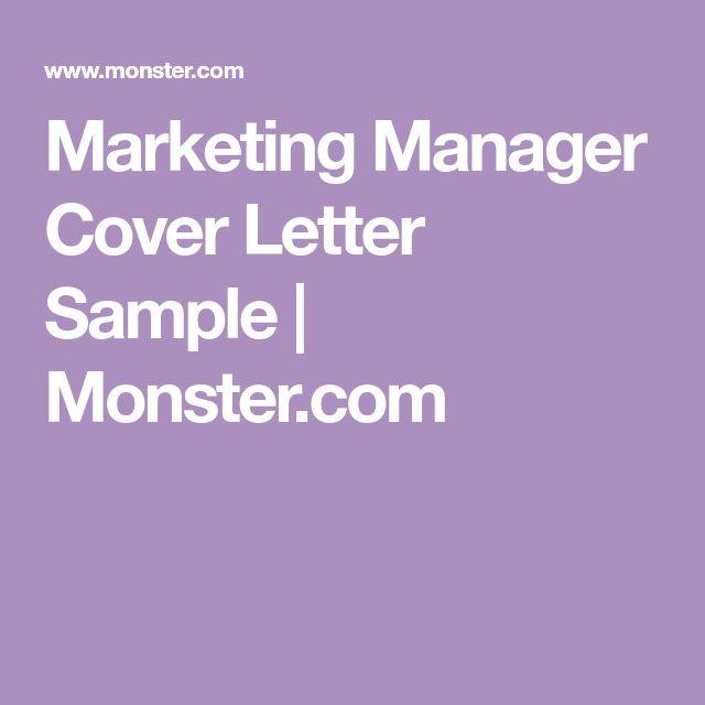 Marketing Manager Cover Letter Sample | Monster.com