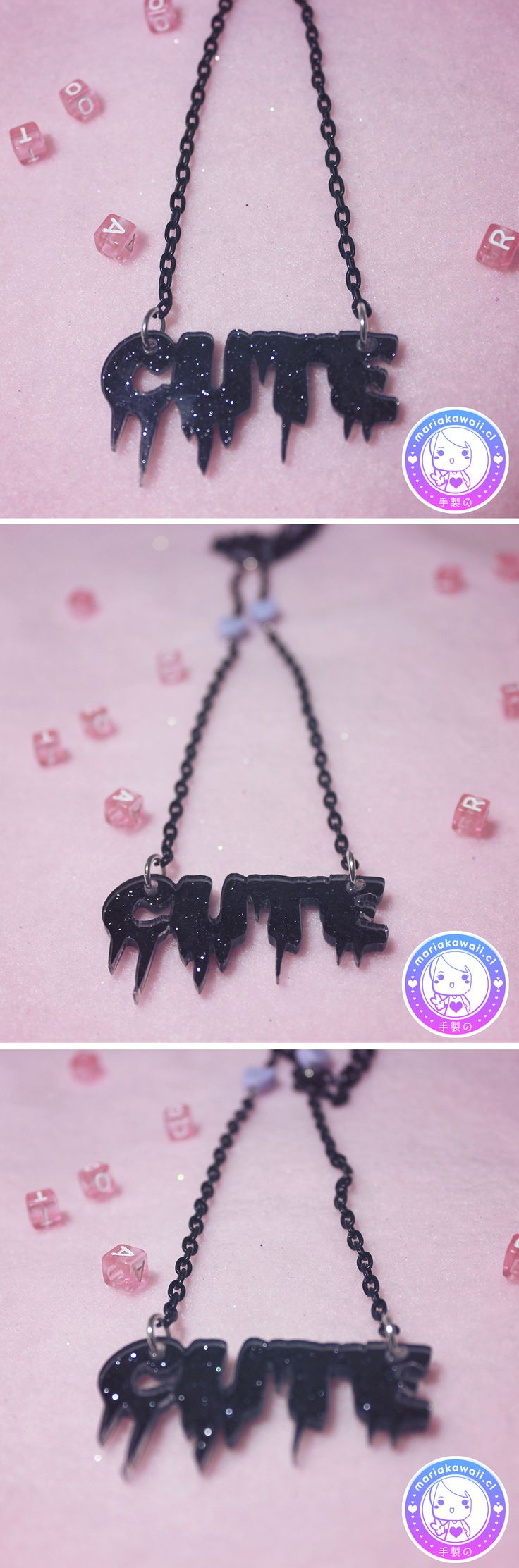 María Kawaii Store ♥ Cute Black Hearts necklace