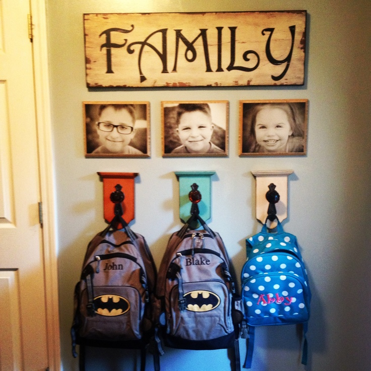 Book bag hanger wall.