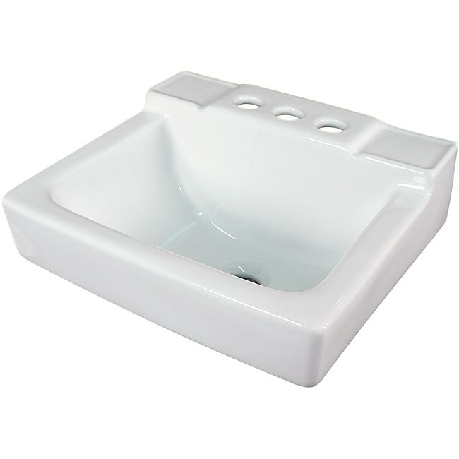 Small White Sink : Ceramic 14-inch Small White Wallmount Sink