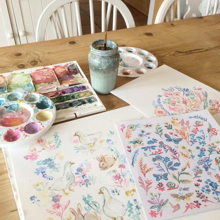 Pretty watercolor paintings #watercolor #art #flowers #floral #bunny #painting #drawing