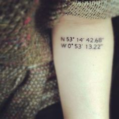 Or get the coordinates of a meaningful place tattooed.