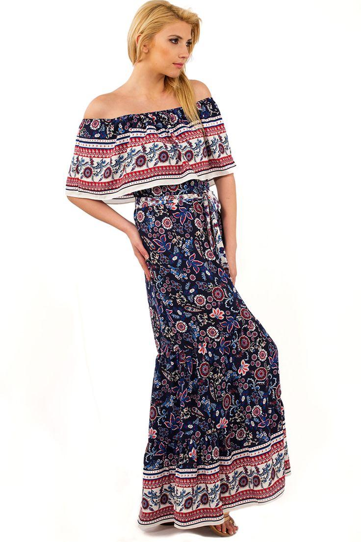 Γυναικεία ρούχα : Φόρεμα εμπριμέ με βολάν ΜΠΛΈ ΙΝΤΊΓΚΟ