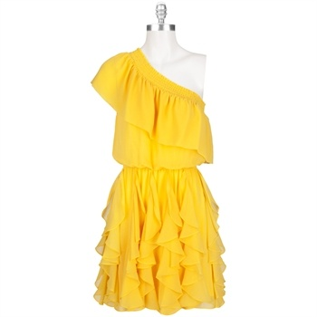 "Jessica Simpson One-Shoulder Ruffle Dress  $128.00..found in Lord and Taylor for $30! Love it. Dad replies, ""Only young girls should wear it"". WTH?"