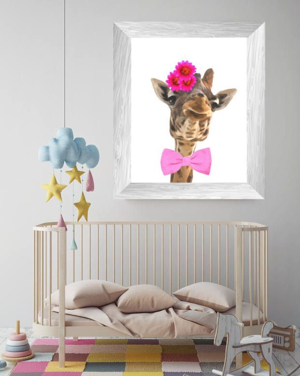 animal print for nursery, giraffe wall art, funny animals watercolor, baby room poster, safari printable artwork, instant digital download di AlemiPrints su Etsy