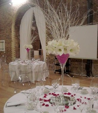 Contemporary Pink Glamour Design by The Fine Flower Company at www.myweddingflowerideas.co.uk
