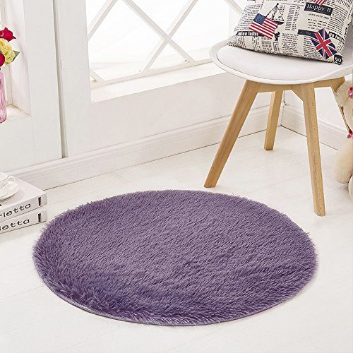 SANMU Super Soft Indoor Modern round Rugs Fashion Color for Girls living Room Bedroom Parlor Fluffy Silky Smooth Rugs Mats round shag rug Footcloth for Home Decorate 4 Feet Grey-purple  Material: It is made of polyester. Beautiful color, super soft feeling, the fur is approx 4.12cm high, but you will also feel a little thin and lightweight is because of the softness of the fabrics. Suitable for home decorate, children play mat, women yoga  High quality: No fade.Do not shed hair,easy to...