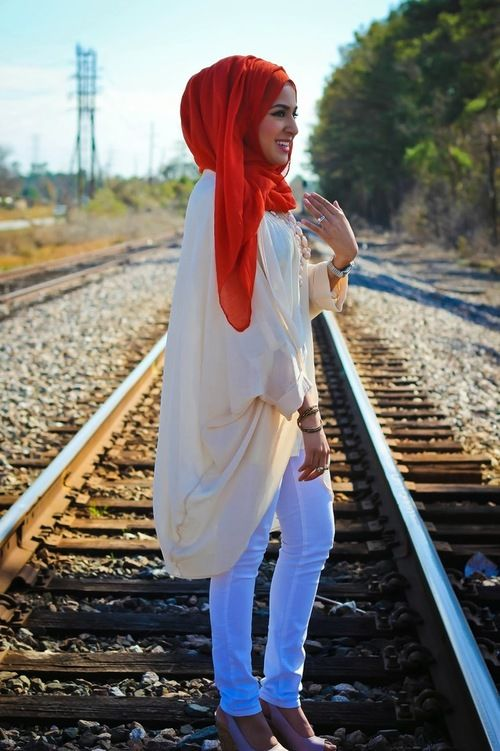 ♥ : Photo orange hijab fashion