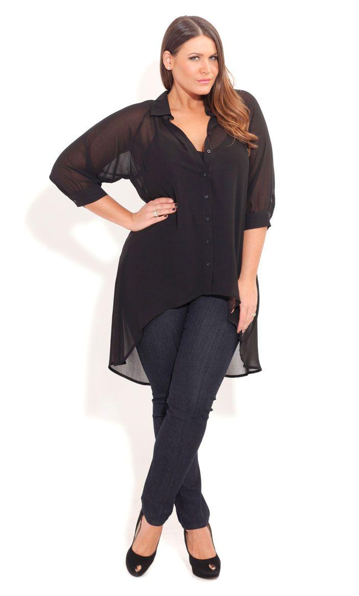 City Chic SURPRISE BACK SHIRT-Women's Plus Size Fashion