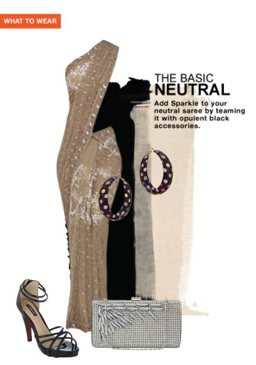 'The Basic Neutral' by me on Limeroad featuring Beige Sarees, Black Clutches with Black Sandals