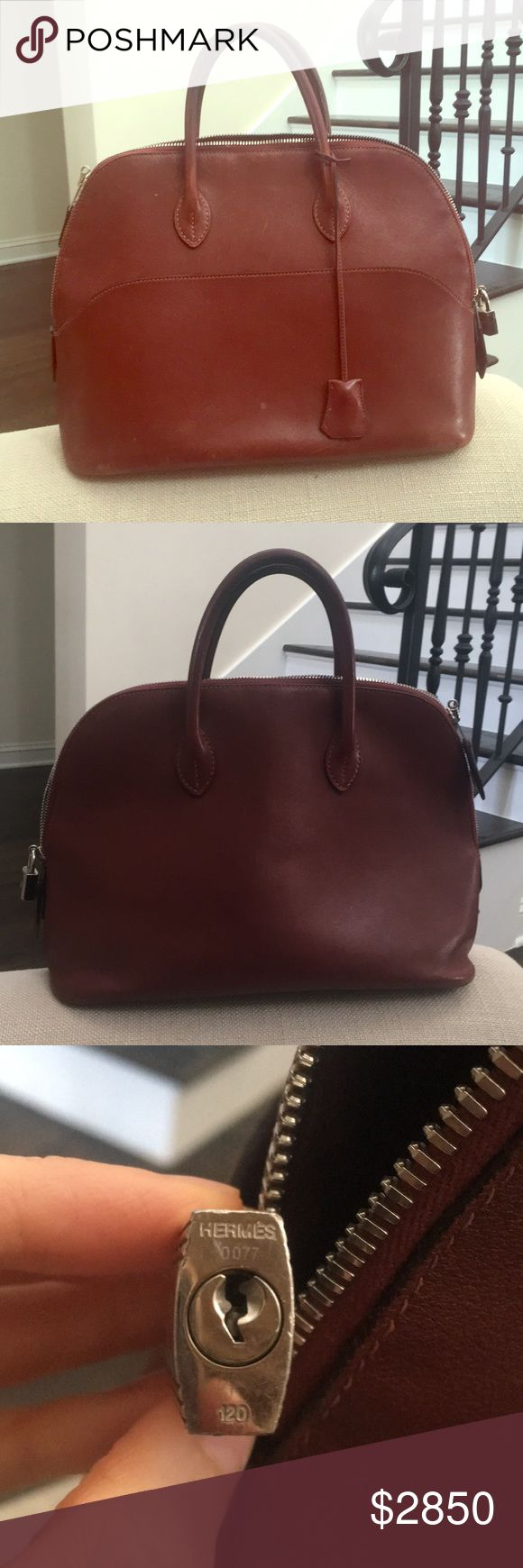 Hermès Bolide bag/purse, brick color Rare and beautiful brick colored Bolide bag. Some weathering on leather but all seams, zippers in great condition. Can be sent to Hermès spa for leather refurbishment at reasonable price. Hermes Bags Totes