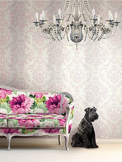 Damask Stripe Wallpaper in Pink, Neutrals, and Metallic design by Seabrook Wallcoverings
