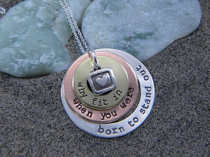 Sterling silver, copper and brass Dr. Seuss Necklace - Why fit in when you were born to stand out