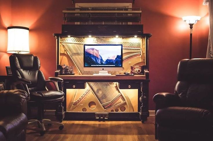 Man's DIY Transforms a Discarded Piano Into a Stunning Piano Desk
