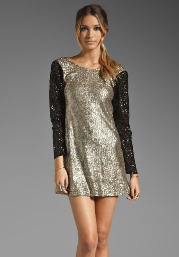 LOVERS + FRIENDS Bright Lights Mini Dress in Bronze/Black Sequin - Sale