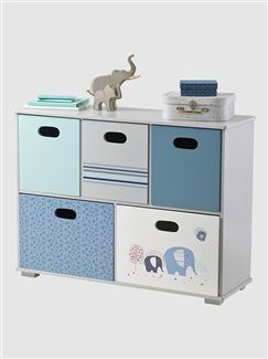 Meuble 5 Tiroirs Th Me Blue Safari Vertbaudet Enfant