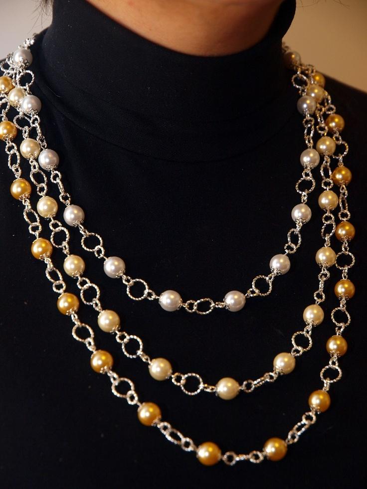 collana a tre fili di perle