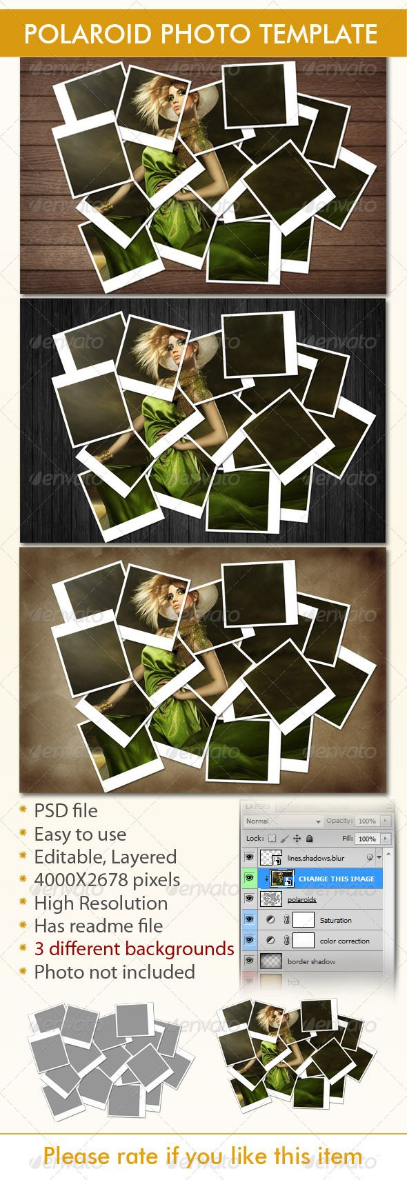 Available in a range of different colour designs instant downloadable - Instant Photo Frames Photo Template