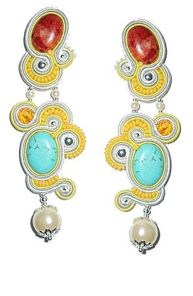 Earrings made in soutache technique.  I used:  stones - red corals, turquoise turkemnits, creamy pearls  acrylic crystals - orange roundelle  beads -