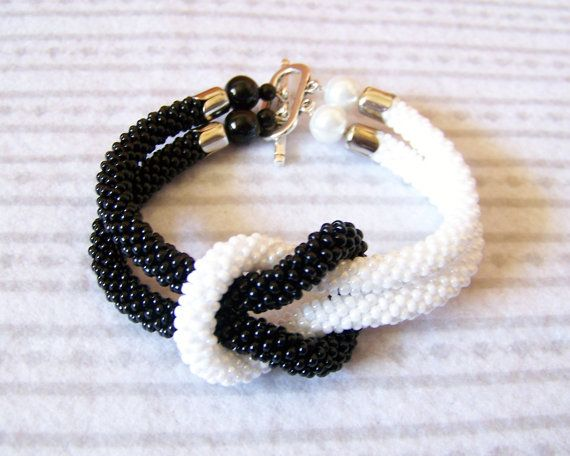 SALE Beadwork Bead Crochet Bracelet in black and white
