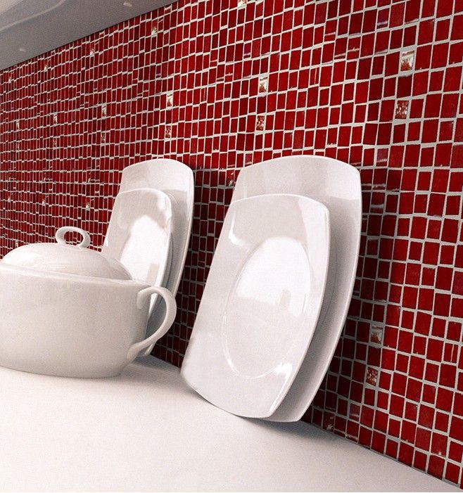 Mosaico rosso smagliante con finitura lucida per decorare le pareti di bagni e cucine.  Dazzling red mosaic with shiny finish, that you may decorate the wall of kitchen and bathroom.  #mosaico #mosaic #tiles #parete #cucina #wall #kitchen #decoration #decorazione #design #interiordesign #architecture #architettura #finish #finitura #bagno #bathroom