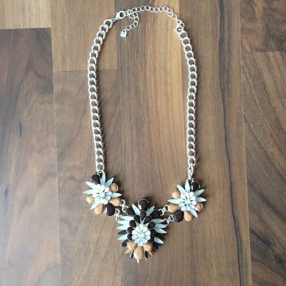 Silver statement necklace Silver, peach, mint, and brown statement necklace Jewelry Necklaces