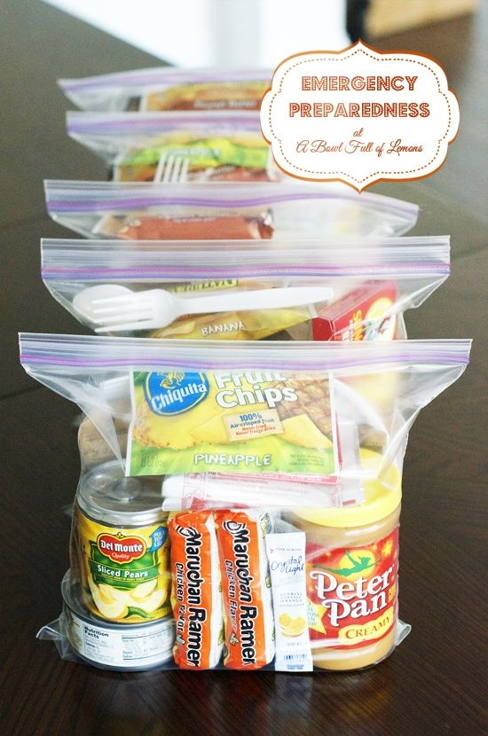 72 hour kit for evacuation from home, office, or school. Food and toiletries to grab-and-go and sustain yourself in the hours following an emergency.