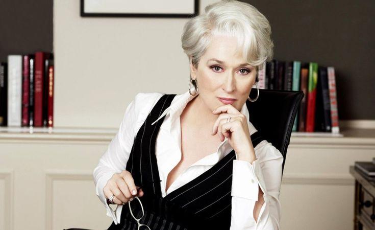 """Em """"O Diabo Veste Prada"""" (2006), Meryl foi indicada ao Oscar de Melhor Atriz. No filme, ela viveu o papel de Miranda Priestly, a poderosa e intratável editora de revistas, inspirada em Anna Wintour"""