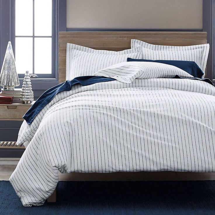 spencer stripe flannel duvet sham u2013 designed with a handsome blue pinstripe on a white