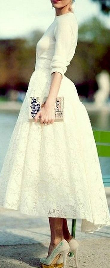 Lace Midi.----If I had gotten married in the winter, I would've worn an outfit very similar to this one.