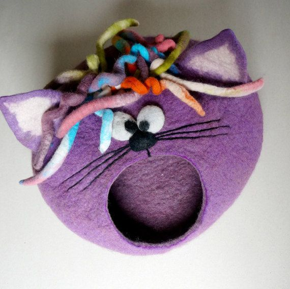 Cat bed/ cat cave/ cat house/ Felted cat house Curly by VaivaIndre                                                                                                                                                                                 More