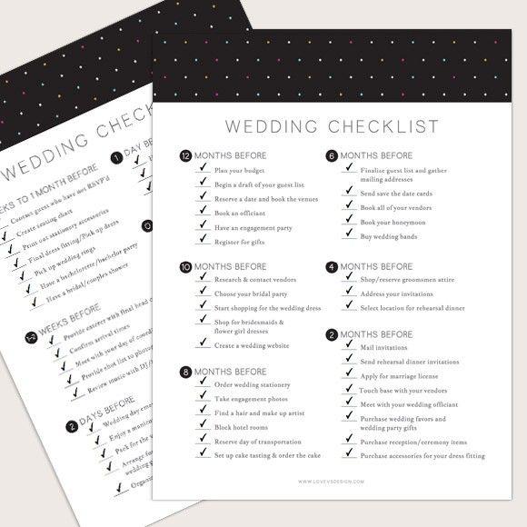 1000+ Ideas About Wedding Checklist Printable On Pinterest