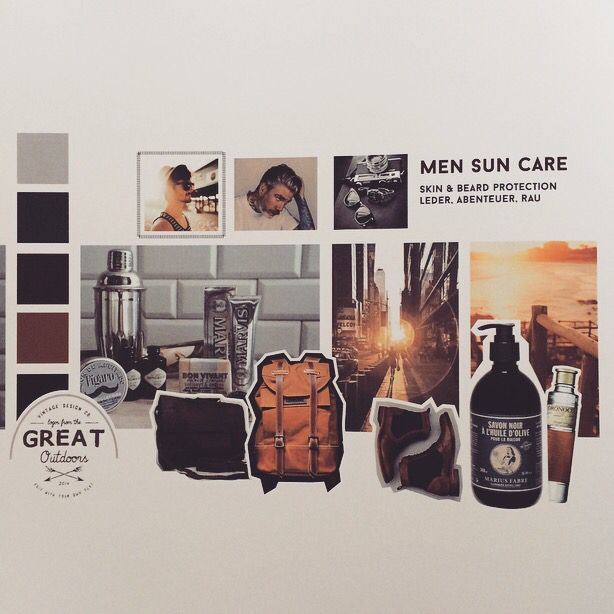Men sun care. Moodboard. Sun Protection for skin and beard. Leather. Rough. Hand made. Authentic. Real.