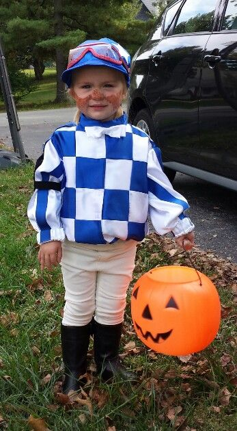 Toddler jockey costume.  This was such a hit and my daughter is so proud of her Secretariat silks.