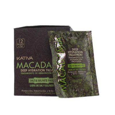 Kativa Macadamia Deep Hydration Treatment Mask. 12 Φακελάκια 35gr. Η Εντατική θεραπέια με την ενυδατική μάσκα, περιποιείται τα μαλλιά σε βάθος.