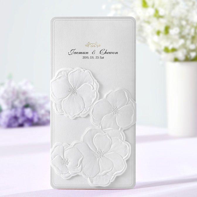 White Embossed Floral Pocket Wedding Invitations | ItsInvitation