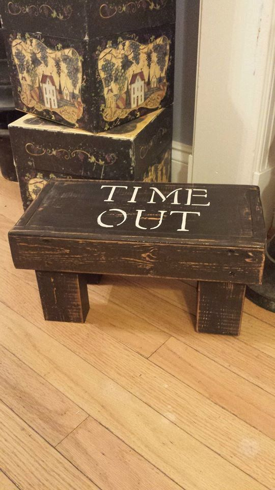 Rustic / Primitive Time out stool by TwiceLovedBoutiques on Etsy, $25.00