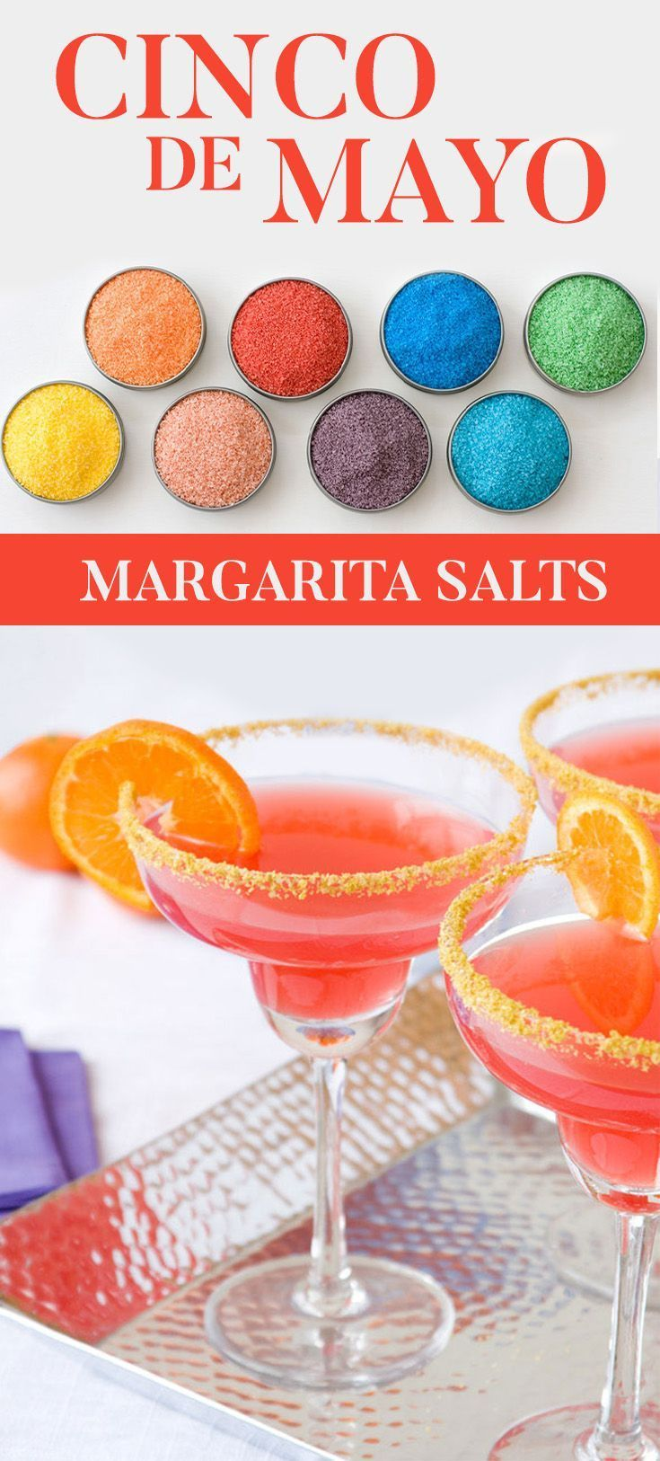Celebrate Cinco De Mayo with a our colored Margarita Salts. Life is too short to serve boring margaritas: Add a bit of colorful fun with our margarita salts. #CincoDeMayo
